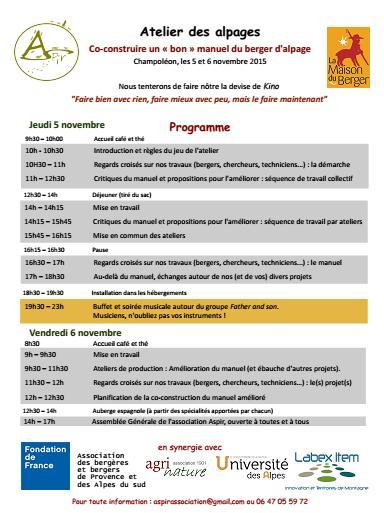 Le programme de la première édition de l'atelier des alpages